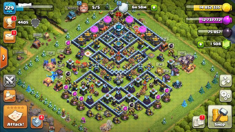 TH 13 Level 229 full max coc id + 1500 gems + 100% max
