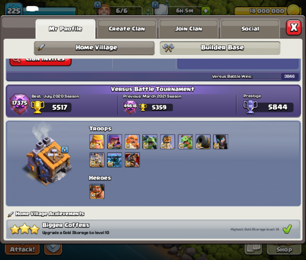 TH 13 Level 229 almost max coc account for sale + 6 worker
