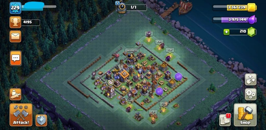 TH 13 Level 225 wonderful full max coc account for sale